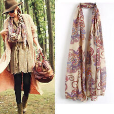 Promotion Long Soft Floral Chiffon Scarf Wrap Large Winter Shawl Stole Scarves