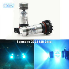 2x PS24W H16 100W LED 8000K Iceberg Blue Projector Fog Driving Light Bulbs