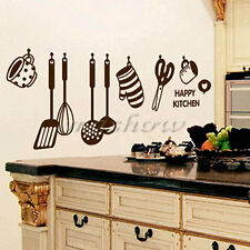 Removable Happy Kitchen Mural Decal Wall Stickers Home Decor Art Vinyl DIY Quote