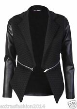 New Womens Ladies Quilted PVC Waterfall Full Sleeves Zip Blazer Jacket Coat Top