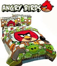 ANGRY BIRDS Kids TWIN/SINGLE Size Comforter Set+Shams+Sheets+Bed Skirt+1-Pillow
