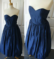 Vintage Prom 80s in 50s Dress 10 Taffeta Evening Full Flared Navy Blue Strapless