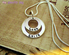 Personalised Circles Hand Stamped Name Birthstone Mothers Necklace Gift Mum