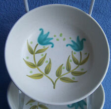 vtg 1960's Franciscan TULIP TIME blue green flowers FRUIT BOWL SAUCE DISH  5.5""