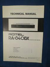 ROTEL RA-840BX INTEGRATED AMP TECHNICAL SERVICE MANUAL FACTORY ORIGINAL