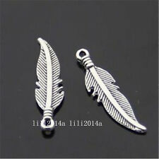 30pc Tibetan Silver Charms 2-Sided Feather Pendant Beads Accessories  PL651