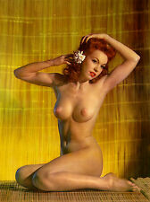 1960s Nude busty red head pinup sitting bamboo rugs 8 x 10 Photograph