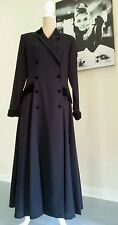Laura ashley noir long vintage équitation robe style manteau avec velours col