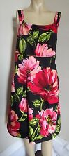 LANE BRYANT 16 FLORAL BURST TANK DRESS Black Red Pink Green luau hawaii XL