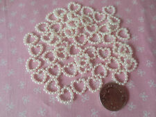50 Pearl Hearts Ivory Embellishments 10mm Craft Scrapbooking Card Craft Supplies
