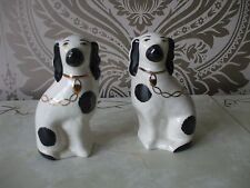 Arthur Wood Ceramica coppia di Mantle Black & White Spaniel Cane Ornamenti alto 14cm