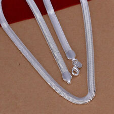 """NEW Free Shipping 925 Sterling Silver 6mm 16""""-24"""" Flat Snake Chain Necklace N193"""