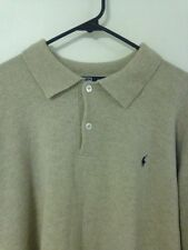 MENS Polo Ralph Lauren Rugby Sweater Shirt Beige XL XLARGE Long Sleeve Wool