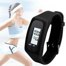 Digital Pedometer Calorie Counter Run Step Walk Distance Bracelet Watch Black D2