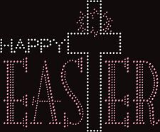 Happy Easter Cross Christian Rhinestone Bling Transfer Hot Fix Iron On