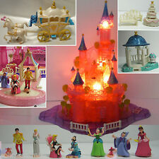 Mini Polly Pocket DISNEY Cinderella Schloss Licht 11 Figuren 100% Komplett TORTE