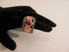Ruby Pink Enamel Heart Marcasite Sterling 14k GP Double Band Ring Size 7.5