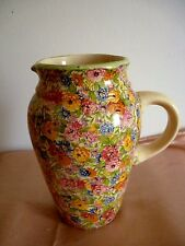 A LARGE HEAVY IRONSTONE ART DECO CHINTZ JUG - KENSINGTON WARE