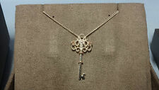 "Welsh Clogau Silver & Rose Gold Kensington Key Pendant 17"" Chain RRP £129"