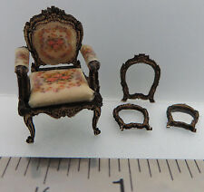 "KIT French Country Roses, Upholstered Chair Laser Cut Kit 1:48 1/4"" dollhouse"