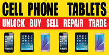 2'x4' CELL PHONES TABLETS BANNER SIGN   IPHONE REPAIR FIX SCREEN SELL BUY UNLOCK