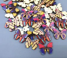 20pcs Wooden Beautiful butterfly Buttons Fit sewing scrapbooking 28mm