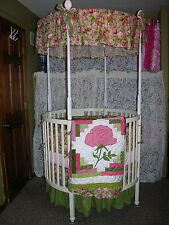 "42"" ROUND CRIB BEDDING CANOPY LOG CABIN  SET MADE/W  PINK ROSE & MINKY FABRIC"