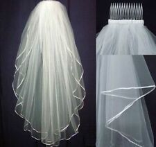2 Tier White Bridal Wedding Veil Elbow Length with Comb Handmade