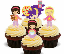 Sleepover Slumber Party Edible Cup Cake Toppers, Standup Fairy Decorations Girl
