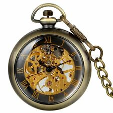 Vintage Antique Steampunk Transparent Hand-wind Mechanical Pocket Watch Necklace