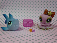 Littlest Pet Shop Lps bastante pares #2139 #2140 tiburón azul y brillantes Pulpo