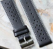 Grey Stripes black leather perforated 22mm rally band vintage watch racing band