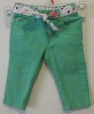 Girls 2T French Toast Green Capri Pants w/ Fabric Polka Dot Floral Belt VGUC