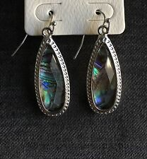Silver & Multi Colored Stone Drop Designed Earrings Fashion Jewelry New!