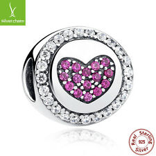Authentic 925 Sterling Silver Pink Heart Charm Fit Bracelet,Safety Chain Jewelry