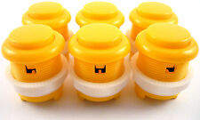 6 x 28mm rond convexe courbé arcade boutons & microswitches (jaune) - Mame
