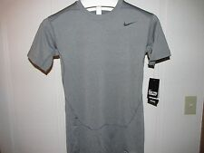 NIKE PRO COMBAT COMPRESSION DRI-FIT , SHORT SLEEVE  SHIRT, GRAY, LARGE