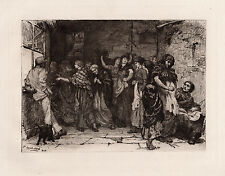 """ORIGINAL 1800s Jacomb-Hood Etching """"Pay-day in a Cotton-mill"""" SIGNED Framed COA"""