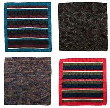 Lot of 4 Men's SANTOSTEFANO Striped Silk Handkerchief Pocket Square Bundle