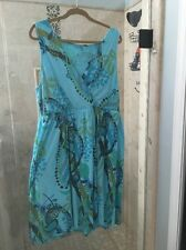 1X FRESH PRODUCE 'SPRING FLING' Sunshine Dress NWOT Cotton Teal color!