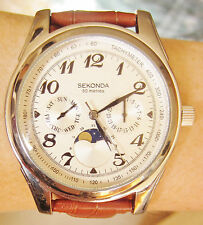 New Sekonda Stainless Steel 50M Chronograph Moonphase Tach Day Date Quartz Watch
