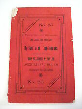 Late 1800s Catalog & Price List of Agricultural Implements by Belcher & Taylor *