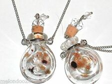 1pc Lg Murano Glass Clear swl oil perfume bottle cork pendant vial Necklace New