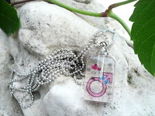 Mini Phiole, Parfum Flakon, Reiskorn Kette, Glas, Gender, Mann Mars, Symbol pink