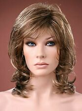 Ladies Medium Wig Tousled Layers Style Brown with Ash Blonde Highlights Wig
