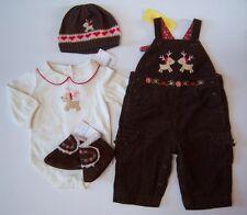 NWT Gymboree Colorful Village 3-6 Months Reindeer Overalls Bodysuit Hat Booties