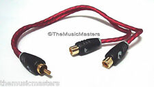 NAK Premium PVC Head RCA Audio Y Cable Adapter Splitter 1 Male to 2 Female Jack