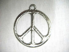 NEW BIG BOLD GIANT HIPPIE PEACE SIGN CAST USA PEWTER PENDANT ADJ CORD NECKLACE