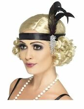 New 20's Flapper Charleston Headband - Black Satin with Feather. Fancy Dress