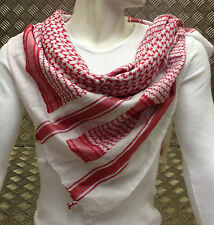 100% Cotton Shemagh / Arab Scarf / Pashmina / Wrap / Sarong. Red & White - NEW